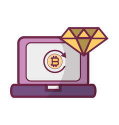 bitcoin computer icon vector image