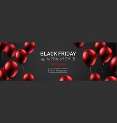 Black friday sale promotion banner with red shiny vector