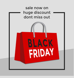 black friday shopping bag sale poster vector image