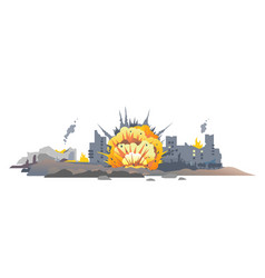 Bomb explosion in city vector