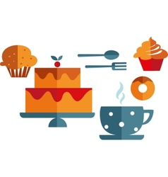breakfast with muffins and coffee vector image