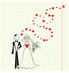 Bride and groom at school a piece scrap vector