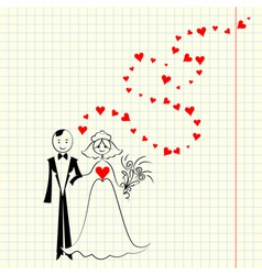 Bride and groom at the school a piece of scrap vector image