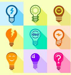 bulb idea set flat style vector image