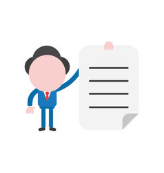 businessman character holding written paper vector image