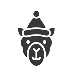 camel wearing santa hat silhouette icon design vector image