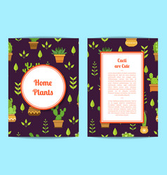 card template with lettering cacti in pots vector image