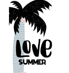 card with calligraphy lettering love summer with vector image