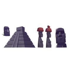 Cartoon ancient moai statues and mayan pyramids vector