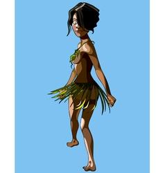cartoon islander woman in a skirt and bra leaves vector image