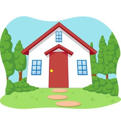 Cartoon of Cute Little House with Garden vector