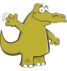 Cartoon waving alligator vector