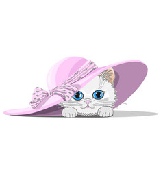 Cat in hat with bow vector