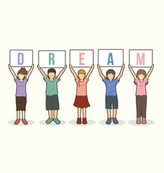 Children with dream board graphic vector