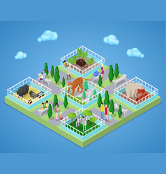 children with parents in zoo park isometric vector image