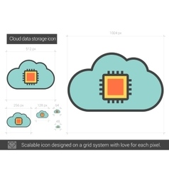 Cloud data storage line icon vector