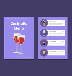 Cocktails menu cover design with list of drinks vector