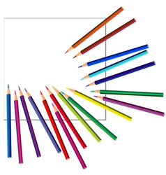 colored pencils on white paper vector image
