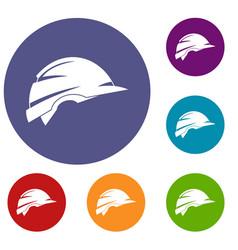 Construction helmet icons set vector