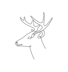 continuous one line deer head with horns side vector image