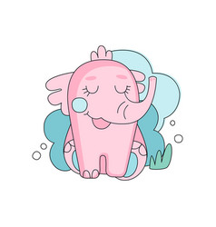 Cute hand drawn pink elephant sitting with closed vector
