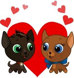 cute kitten and kitten vector illustration vector image