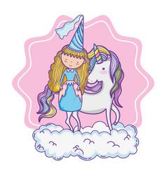 cute magic princess cartoon vector image