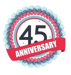 Cute Template 45 Years Anniversary with Balloons vector