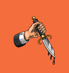 Dagger in hand with blood for tattoo or label vector