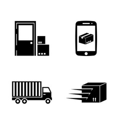 delivery simple related icons vector image