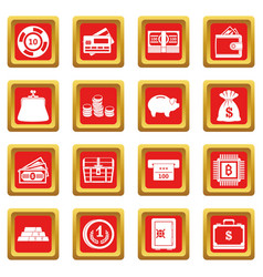 Different money icons set red vector