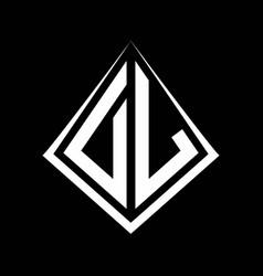 Dl logo letters monogram with prisma shape design vector