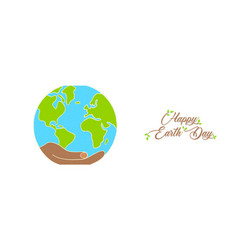 earth day banner of hand holding green planet vector image