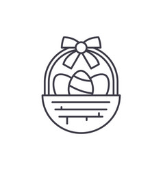 easter basket line icon concept easter basket vector image