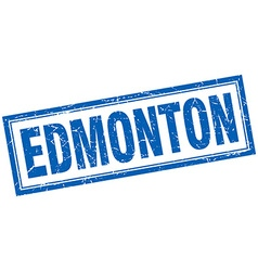 Edmonton blue square grunge stamp on white vector