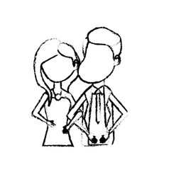 figure happy couple together and romantic vector image