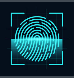 fingerprint scanner concept digital and cyber vector image