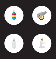 Flat icons artillery arabian praying man and vector
