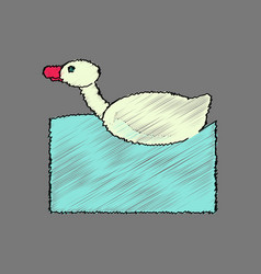 Flat shading style icon kids duck automatic vector