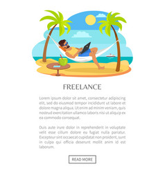 freelance web poster with text man lying hammock vector image
