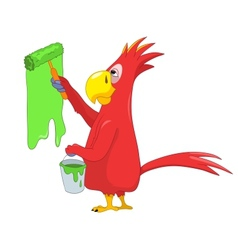 Funny Parrot Painter vector image vector image