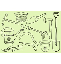 Gardening tools - doodle style vector