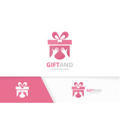gift and hands logo combination present vector image