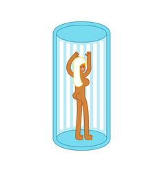 Girl in solarium is vertical apparatus for vector