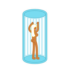 Girl in solarium is vertical apparatus vector