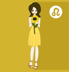 Girl in theme flowers for zodiac leo vector