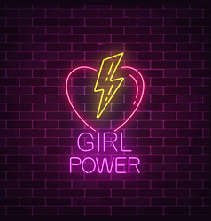 girls power sign in neon style glowing symbol of vector image