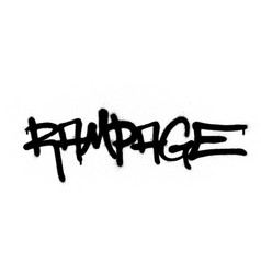 Graffiti rampage word sprayed in black over white vector