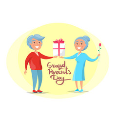 grandparents day senior couple give present vector image