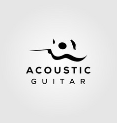 Guitar acoustic negative space simple logo design vector